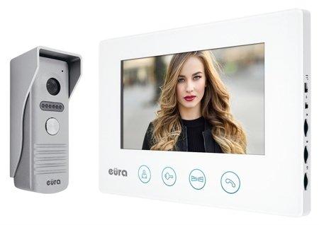 Domovní videotelefon Eura Feniks VDP-40A3 bílá, displej 7'' z WiFi, otevírání dvou vstupů, aplikace Eura Connect