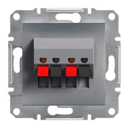 Dvojitá reproduktorová zásuvka bez rámečku, ocel Schneider Electric Asfora EPH5700162
