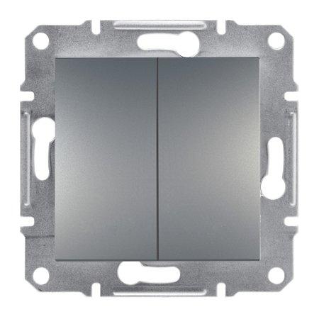 Dvojité tlačítko šroubové svorky bez rámečku, ocel Schneider Electric Asfora EPH1100362