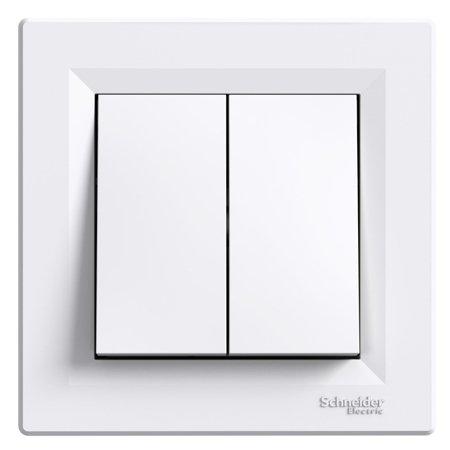Dvojité tlačítko šroubové svorky s rámečkem, bílá Schneider Electric Asfora EPH1100321