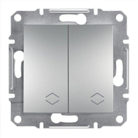 Dvojitý vypínač schodišťový bez rámečku, hliník Schneider Electric Asfora EPH0600161