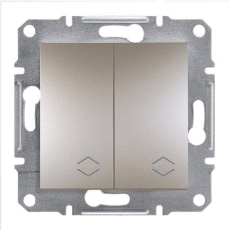 Dvojitý vypínač schodišťový bez rámečku, hnědá Schneider Electric Asfora EPH0600169
