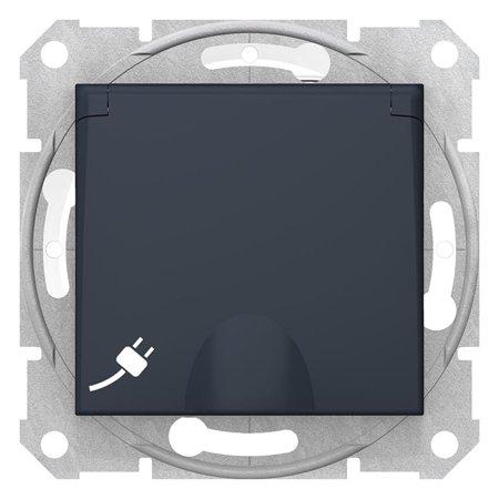 Jednoduchá zásuvka 2P+PE s clonami a krytem, IP44, grafitová Sedna SDN2800370 Schneider Electric