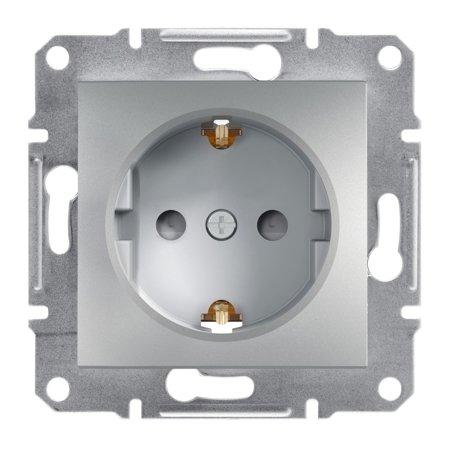 Jednoduchá zásuvka SCHUKO s clonami bez rámečku, hliník Schneider Electric Asfora EPH2900261