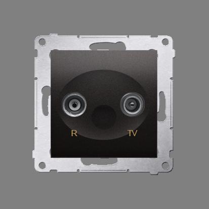 Kontakt Simon 54 Premium Antracit Anténní zásuvka R-TV průběžná (modul), útlum. TV a R 10 dB, DAP10.01/48