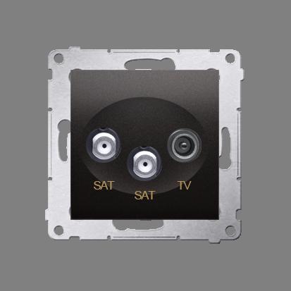 Kontakt Simon 54 Premium Antracit Anténní zásuvka satelitní dvojitá SAT-SAT-elektro (modul), DASK2.01/48