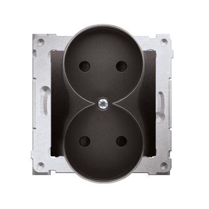 Kontakt Simon 54 Premium Antracit Zásuvka dvojitá bez uzemnění s clonou šroubové koncovky, DG2MZ.01/48