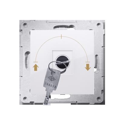 "Kontakt Simon 54 Premium Bílý Vypínač žaluzii na klíč 1-běh. 3 poz ""I-0-II, 2 spínače N/O vyt. klíče v každé pozici DWZK.01/11"