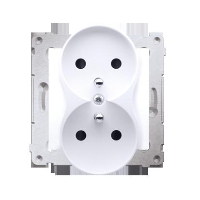 Kontakt Simon 54 Premium Bílý Zásuvka dvojitá s uzemněním s clonou šroubové koncovky, DGZ2MZ.01/11