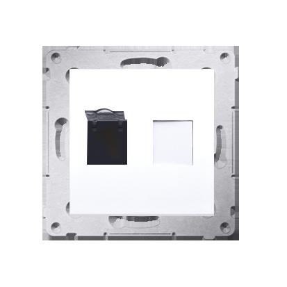 Kontakt Simon 54 Premium Bílý Zásuvka počítačová jednonásobná RJ45 kat. 6 se zaklapávací krytkou D61.01/11