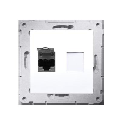 Kontakt Simon 54 Premium Bílý Zásuvka počítačová jednonásobná RJ45 kat. 6, stíněné se zaklapávací krytkou D61E.01/11