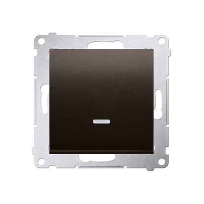 Kontakt Simon 54 Premium Hnědá, matné Tlačítko jednopólové zkratovací s podsvícením LED bez pikt. X šroubové koncovky, DP1AL.01/46
