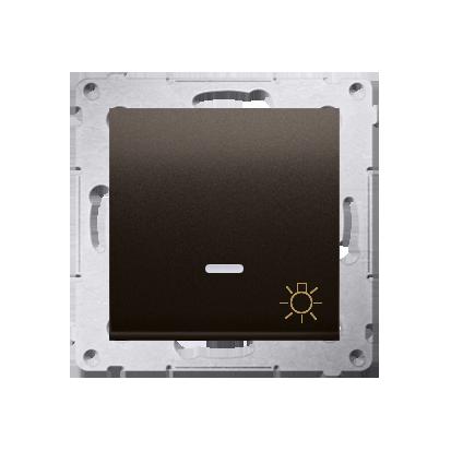 """Kontakt Simon 54 Premium Hnědá, matné Tlačítko """"světlo"""" s podsvícením LED rychlospojka, DS1L.01/46"""
