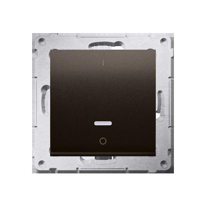 Kontakt Simon 54 Premium Hnědá, matný Vypínač dvoupólový s podsvícením LED rychlospojka, DW2L.01/46