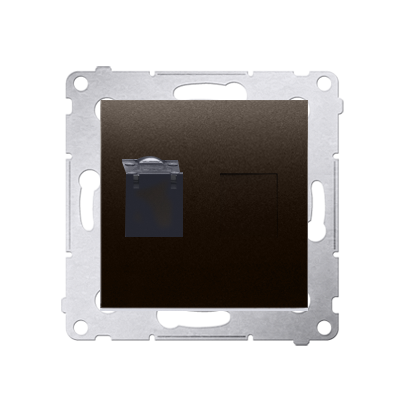 Kontakt Simon 54 Premium Hnědá, matný Zásuvka počítačová jednonásobná RJ45 kat. 6 se zaklapávací krytkou D61.01/46