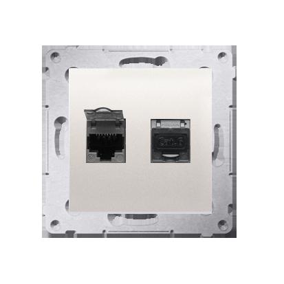 Kontakt Simon 54 Premium Krémová Zásuvka počítačová dvojitá RJ45 kat. 6 stíněné se zaklapávací krytkou D62E.01/41