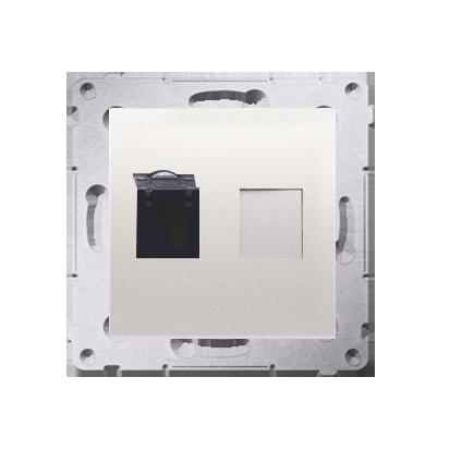 Kontakt Simon 54 Premium Krémová Zásuvka počítačová jednonásobná RJ45 kat. 6 se zaklapávací krytkou D61.01/41