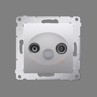 Kontakt Simon 54 Premium Stříbrná Anténní zásuvka R-TV průběžná (modul), útlum. TV a R 10 dB, DAP10.01/43