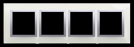 Kontakt Simon 54 Premium Stříbrná Mlha - sklo Rámeček 4-násobný Nature DRN4/71