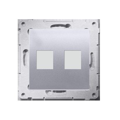 Kontakt Simon 54 Premium Stříbrná Telekomunikační kryt zásuvky na Keystone plochá dvojnásobný (modul), DKP2.01/43
