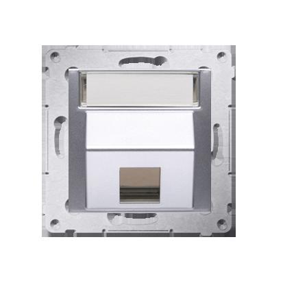 Kontakt Simon 54 Premium Stříbrná Telekomunikační kryt zásuvky na Keystone šikmý jednonásobný s popisovým pólem DKP1S.01/43