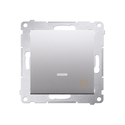 """Kontakt Simon 54 Premium Stříbrná Tlačítko """"světlo"""" s podsvícením LED rychlospojka, DS1L.01/43"""