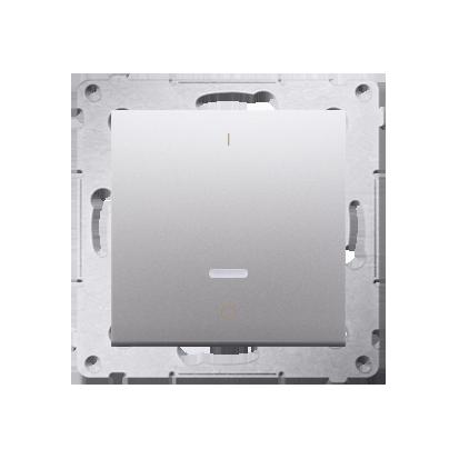 Kontakt Simon 54 Premium Stříbrná Vypínač dvoupólový s podsvícením LED rychlospojka, DW2L.01/43