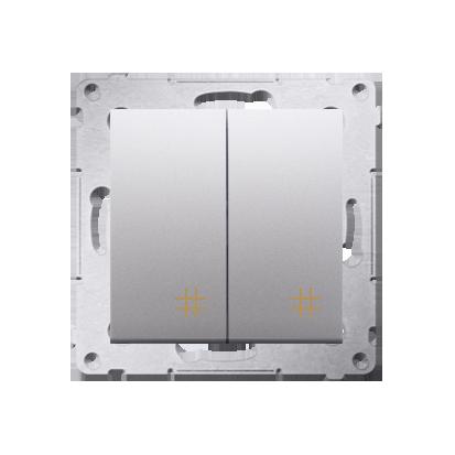 Kontakt Simon 54 Premium Stříbrná Vypínač křížový dvojnásobný 2 klávesy (modul) ~, DW7/2.01/43