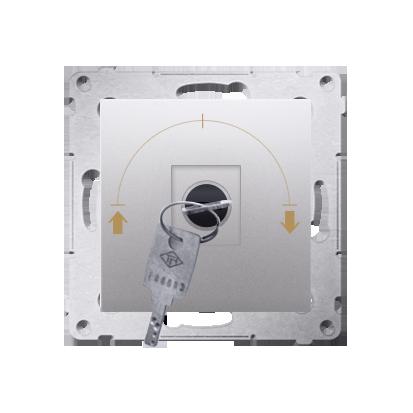 Kontakt Simon 54 Premium Stříbrná Vypínač žaluzii na klíč 1-běh.(modul) 3 polohový I-0-II 2 spínače N/O, 5A, 250~