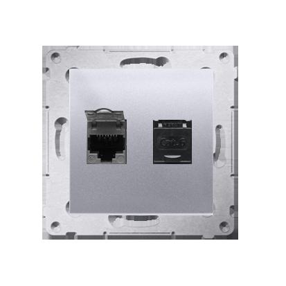 Kontakt Simon 54 Premium Stříbrná Zásuvka počítačová dvojitá RJ45 kat. 6, se zaklapávací krytkou D62.01/43