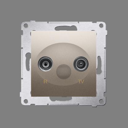 Kontakt Simon 54 Premium Zlatá Anténní zásuvka R-TV zakončovací do zásuvek průchozích (modul), DAZ.01/44