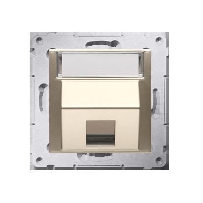 Kontakt Simon 54 Premium Zlatá Telekomunikační kryt zásuvky na Keystone šikmý jednonásobný s popisovým pólem DKP1S.01/44