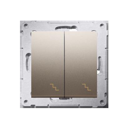 Kontakt Simon 54 Premium Zlatá Vypínač schodišťový dvojnásobný s podsvícením (modul) šroubové koncovky, DW6/2L.01/44