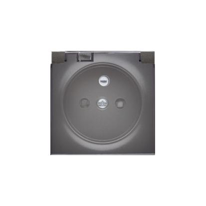 Kryt zásuvky s uzemněním a s víčkem dymną IP44, grafit Kontakt Simon 82 82068KD-38
