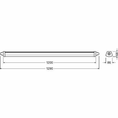Lineární LED svítidlo 1200 44W 4000K IP65 DAMP PROOF COMPACT LEDVANCE