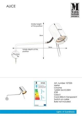 Nástěnné svítidlo ALICE 1L GU10 Chrome 107225 Markslojd
