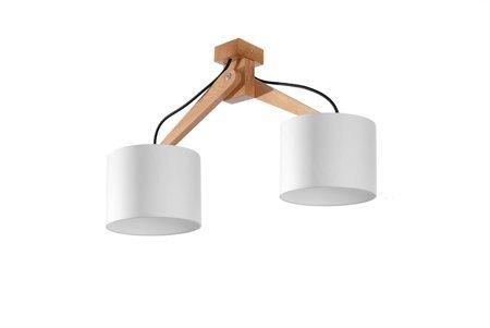 Plafon LEGNO bílá Dřevo 2xE27 Sollux SL.0521