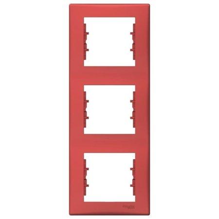 Rámeček 3-násobný svislý červená Sedna SDN5801341 Schneider Electric