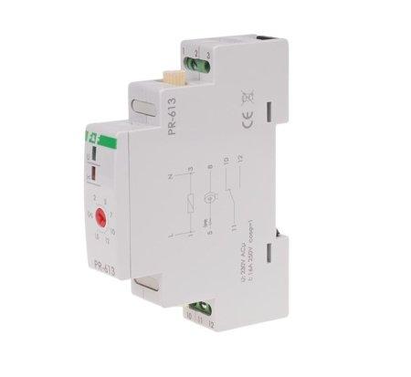Relé s prioritou s průchozím kanálem, nastavení 2-15A, kontakt 1Z, Imax=16A, 1 modul, PR-613, F&F