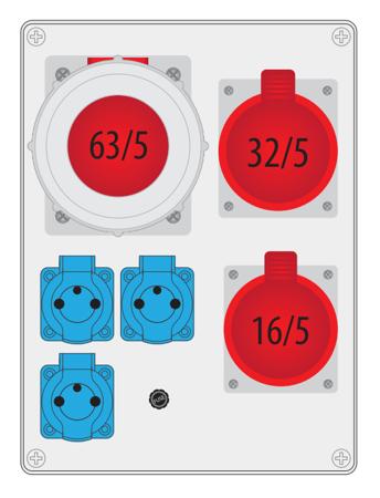 Rozváděč R-BOX 300 1x63A/5P, 1x32A/5P, 1x16A/5P, 3x250V B.18.3168 Pawbol