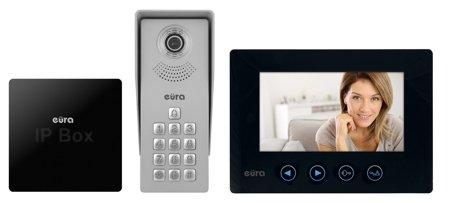 SADA domovního telefonu ''EURA'' VDA-12A3 ''TYTAN'' ČERNÁ A IP BRÁNA ''EURA'' VDA-99A3 A31A181