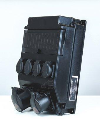 Stavební rozváděč černá 1x16a/5p, 1x32a/5p, 2x230v IP54
