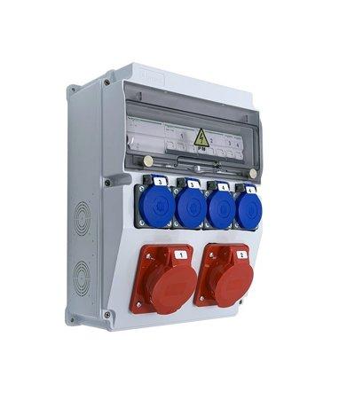 Stavební rozváděč s příslušenstvím ASTAT 448 Plus IP65 2x16A/5P, 4x230V IP44, vypínače Schneider EDO777448
