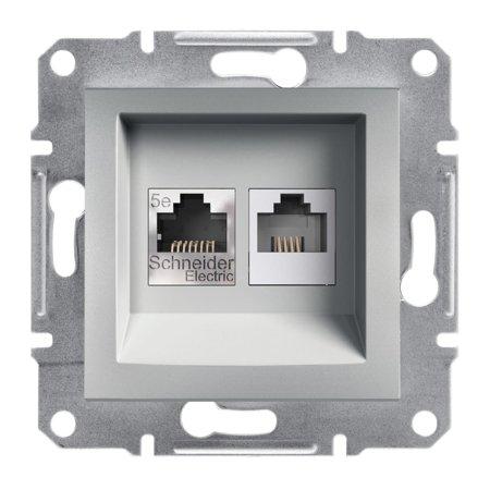 Telefonní a počítačová zásuvka kat5e UTP bez rámečku, hliník Schneider Electric Asfora EPH4900161