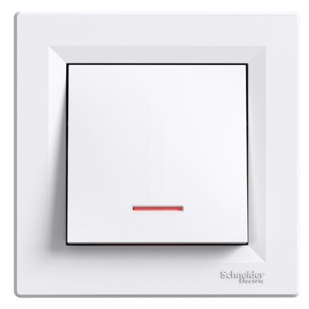 Tlačítko s podsvícením šroubové svorky s rámečkem, bílá Schneider Electric Asfora EPH1600321