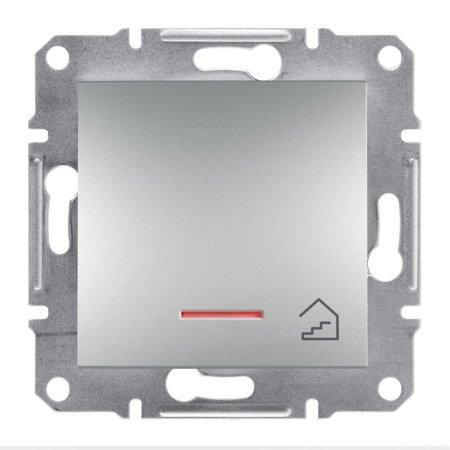 Tlačítko schody s podsvícením bez rámečku, hliník Schneider Electric Asfora EPH1900161