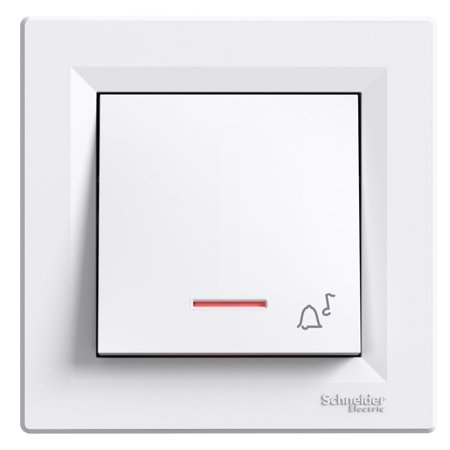 Tlačítko zvonek s podsvícením šroubové svorky s rámečkem, bílá Schneider Electric Asfora EPH1700321