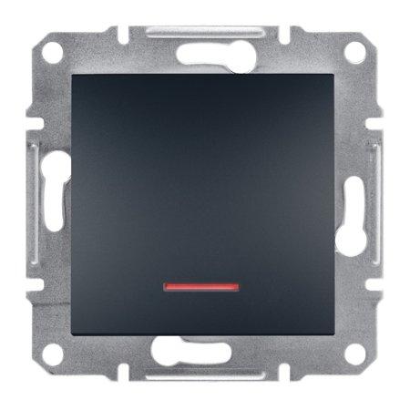 Vypínač 1-pólový s podsvícením bez rámečku, antracit Schneider Electric Asfora EPH1400171