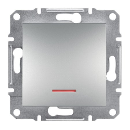 Vypínač 1-pólový s podsvícením bez rámečku, hliník Schneider Electric Asfora EPH1400161