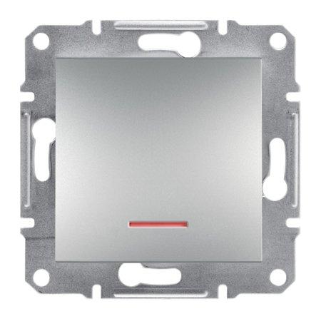 Vypínač 1-pólový s podsvícením šroubové svorky bez rámečku, hliník Schneider Electric Asfora EPH1400361